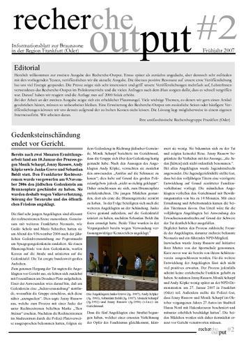 Recherche Output #2 - Frankfurt (Oder)