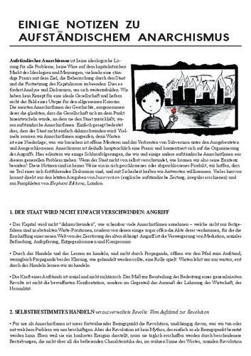 Einige Notizen zum aufständischen Aanarchismus