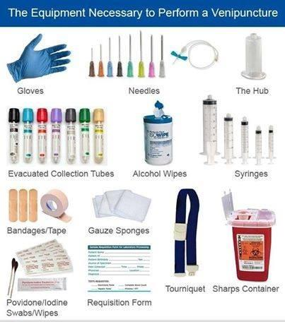 The equipment necessary to perform a venipuncture large