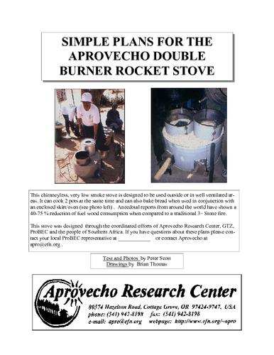 Simple plans for the aprovecho double burner rocket stove large